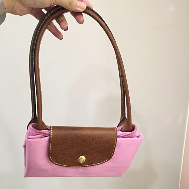 Longchamp 粉紅 少女 長柄包