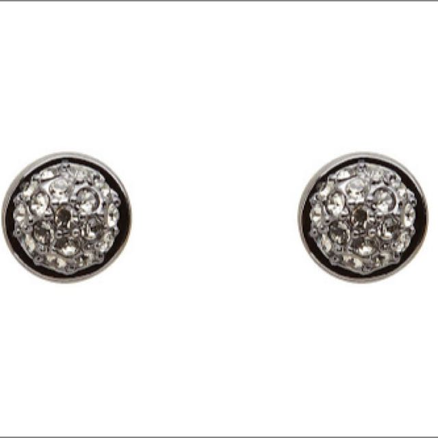 Mimco Mini Crystal Dome Studs Black
