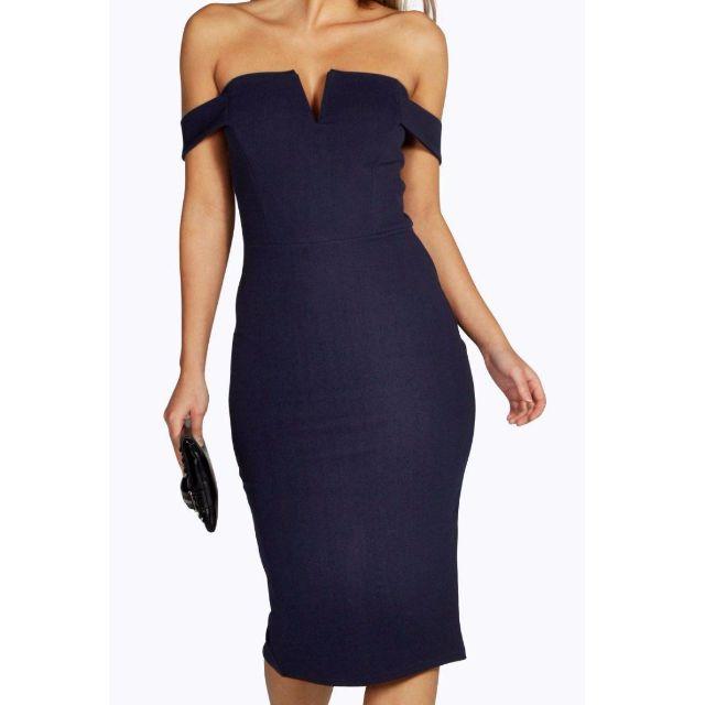 Navy Bardot Midi Bodycon Dress