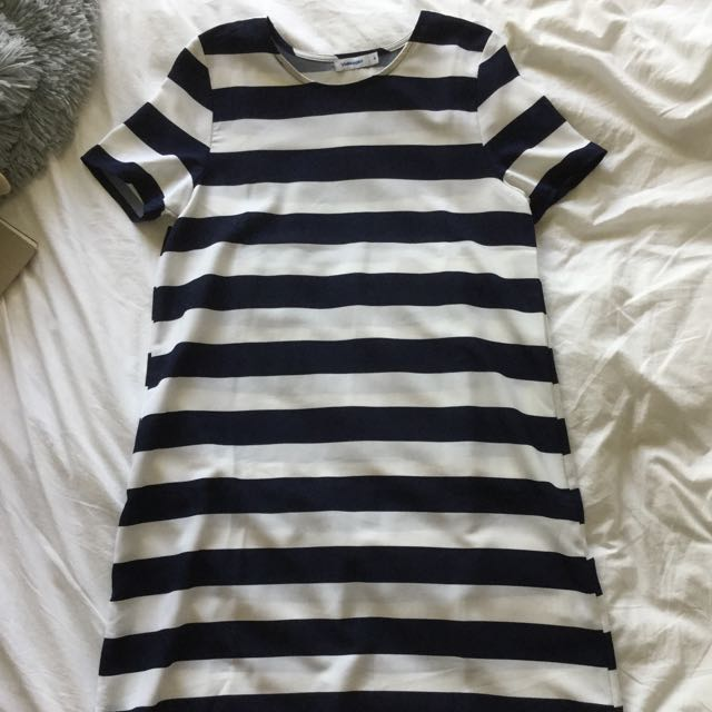 Navy Striped T-Shirt Dress
