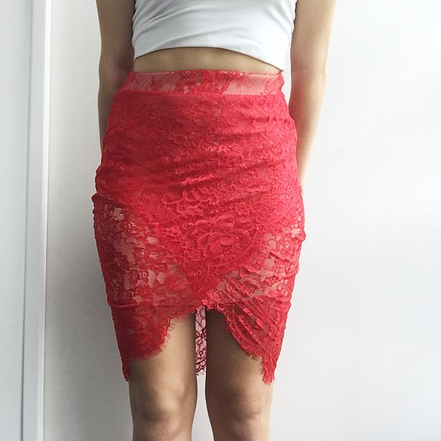 Red Lace Tight Skirt
