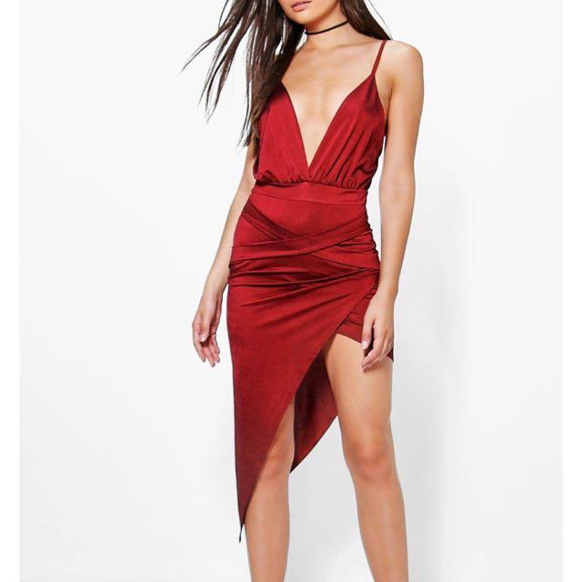 Red Plunge Cross Dress