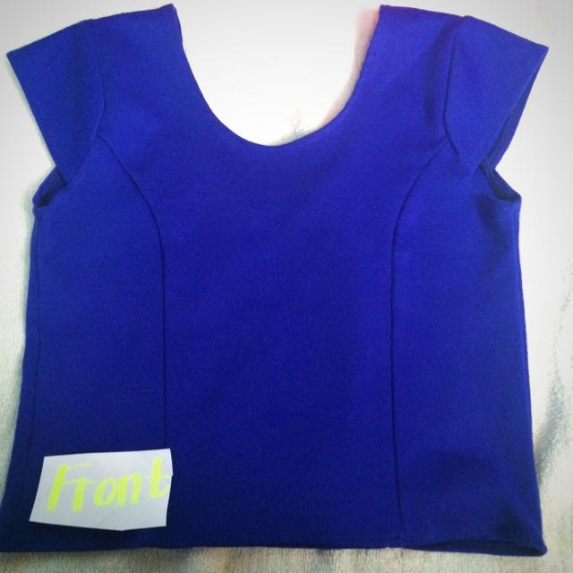 Scoop Back Royal Blue Crop Top