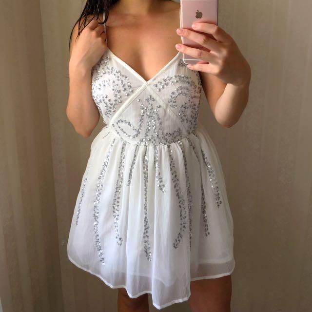 Sequinned White Dress
