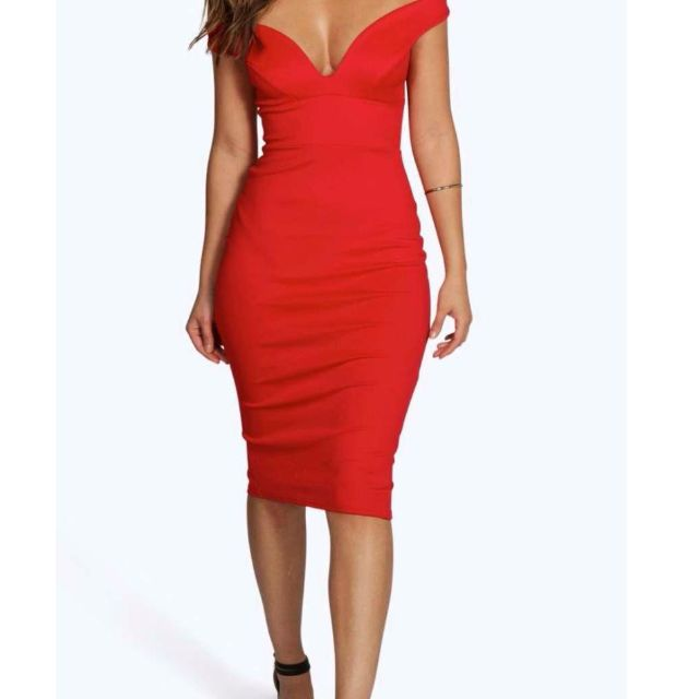Sexy Red Off Shoulder Bodycon Dress