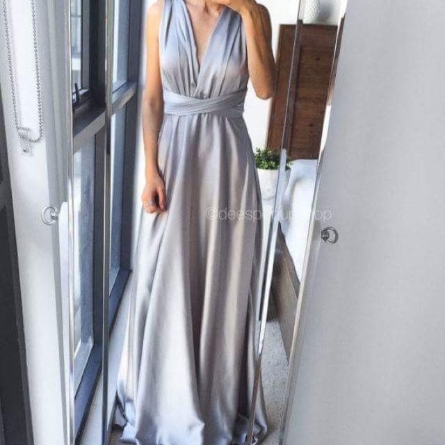 Silver Maxi Multiway Formal Dress
