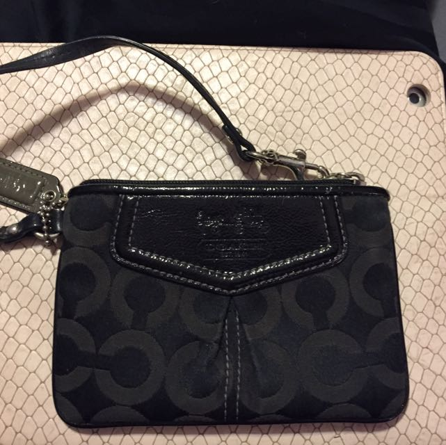 Small Black Coach Wristlet