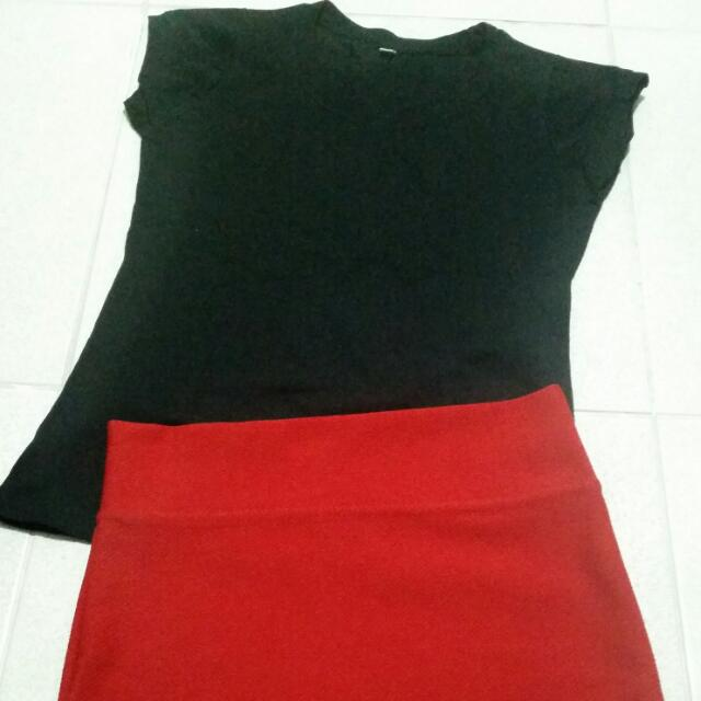 Take All: Black Shirt And Red Skirt