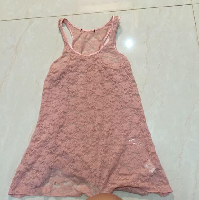 tanktop pink lace tumblr transparan