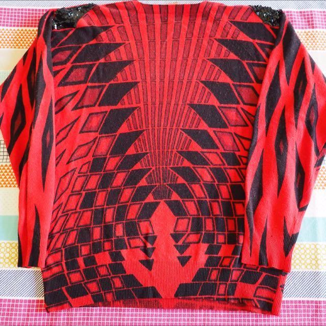 Vintage/Retro/80's Red & Black Patterned Sequin Jumper