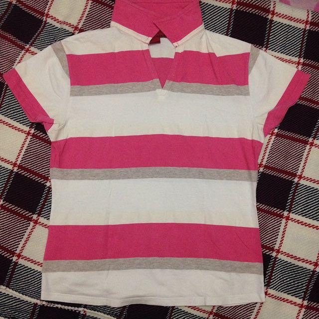 White&pink Stripes Shirt
