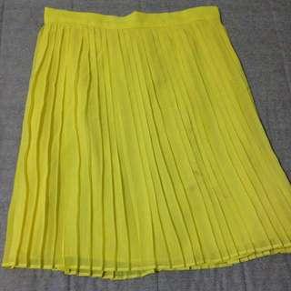 🚚 Mango 黃色百摺紗裙