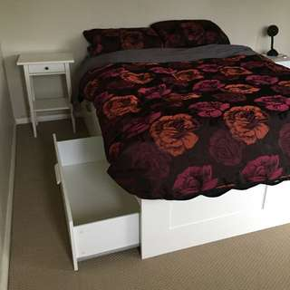 Ikea- Brimnes Queen Bed Frame With Storage, 2 Bed Side Tables