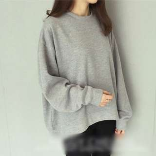 Grey Knit Korean Crew Neck Sweater