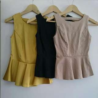 Forcast , Papper Heart And Bardot Peplum Tops