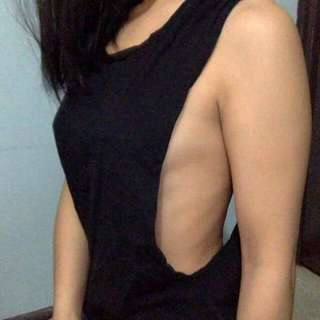 Black Backless Top With Twisted rope Detail