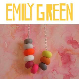 Emily Green Handmade Australian Designer Colourful Polymer Clay Bead Necklace