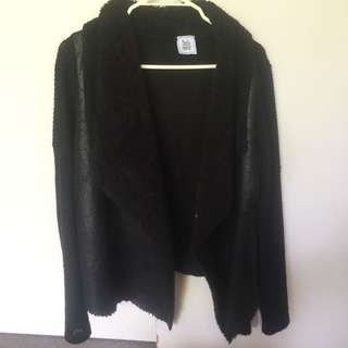 Leather/knit Cardigan