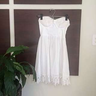 Ally Lace Trim Dress with Back Cut Outs (white)