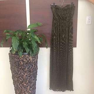 Boohoo Laura Metallic Printed Bandeau Maxi Dress