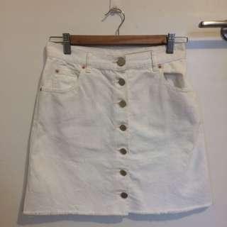 Asos White Denim Skirt