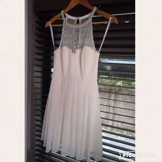 Forever New Beaded Mini Evening Dress - White Size 6