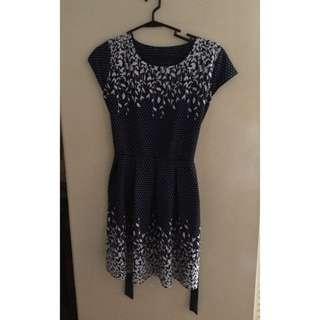 Printed Dark Blue Dress