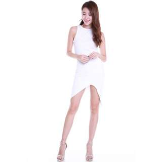 CARISLABELLE WHITE UNEVEN HEM DRESS
