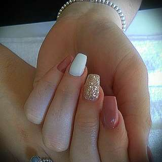 Acrylic Fills, Two Sculptured Fixed Nails Shellac Color:)