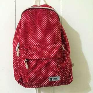 購於JohnnyGarage 紅色超大空間後背包 買背包送原購物袋