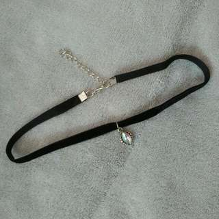 Thin Black Velvet Choker Necklace With Charm
