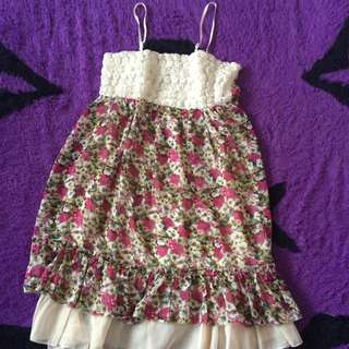 Flower Dress Tanpa Lengan