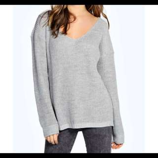 Knit Boohoo Oversized Silver Grey Jumper