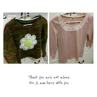 ※全新花朵民族風彩針織毛衣&PS專櫃七分袖上衣※