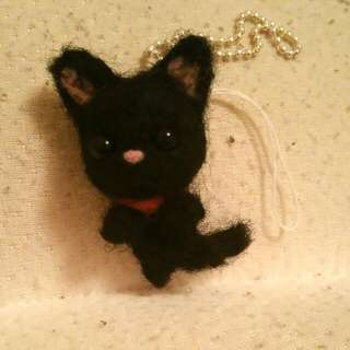 Cute Hand Made Needle Felt Black Cat