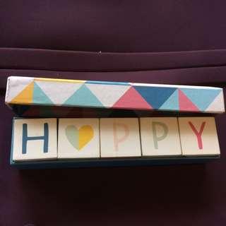 Pastel Cute Happy Wooden Blocks Customisable Desk Ornament