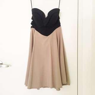 Strapless Sweetheart Neckline Black Beige Cutout Dress