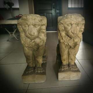 Antique Solid Greek Stone Lion Statues Or Coffee Table