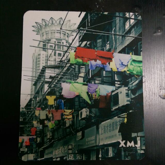 上海帶回街頭特色風景空中晾衣竿圖案滑鼠墊(寬15公分高20公分,底部防滑)