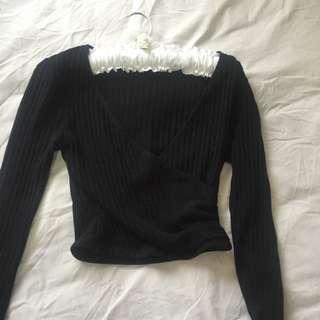 Bardot V Wrap Black Knit