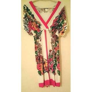 Floral Short-Sleeved Kimono Dress Womens Size S/M VENUS