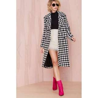 Houndstooth Coat Womens Size XS (Brand: Nasty Gal)