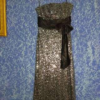 Reprice - Long Dress Hitam Payet
