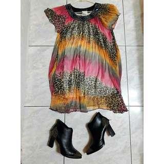 豹紋粉紅洋裝