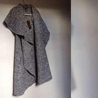 Katies Salt & Pepper Waterfall Sleeveless Coat