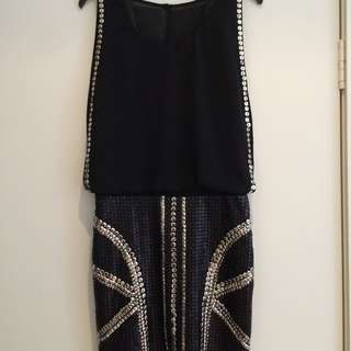 Bariano Black Sequin Dress