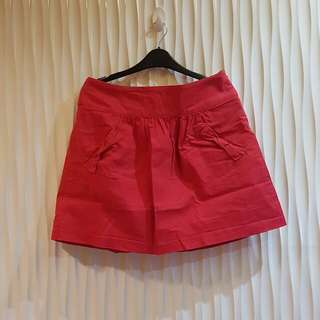 Promod Red A-Line Ribbon Skirt