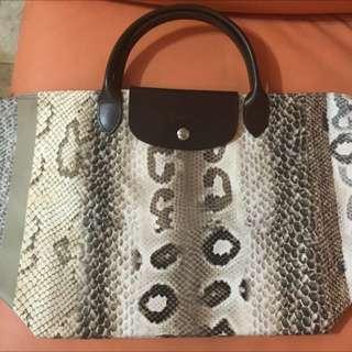 Longchamp 短把蟒紋手提包