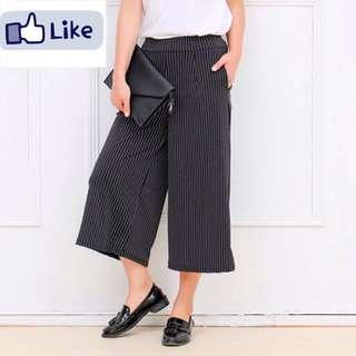 Vertical Stripes Wide Leg Pants For Women Loose  Casual Trousers Black  Elegant Wear