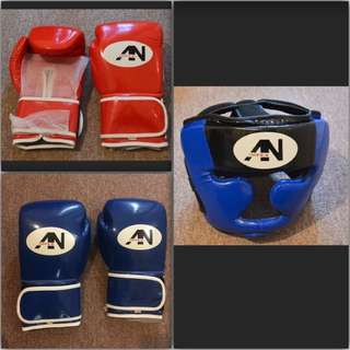 2x Boxing Gloves 1x Boxing Head Gear